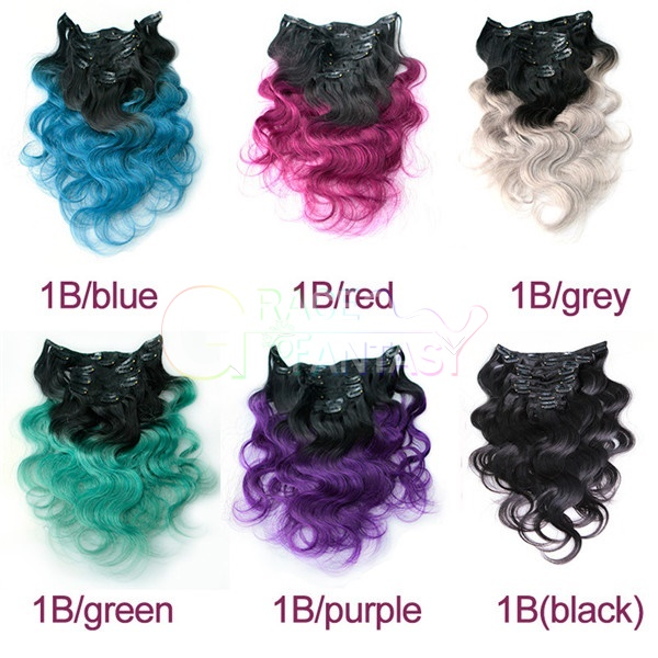 Brazilian human hair weave colored hair extensions clips body wave Ombre two tone clip in human hair extensions