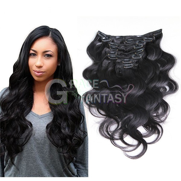 1B Body Wave 100% Brazilian Virgin Remy Clip Hair Extensions wet and wavy weave 8 pcs/set Full Head Natural Black
