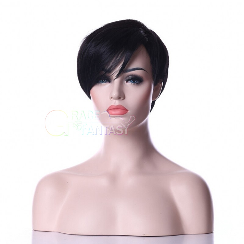 Unprocessed virgin brazilian glueless full lace short human hair wigs with bangs short straight bob lace front wig for black women