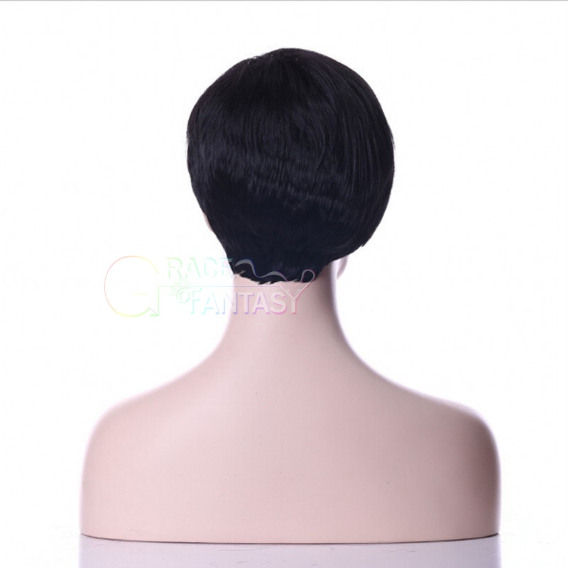 short human hair wigs with bangs