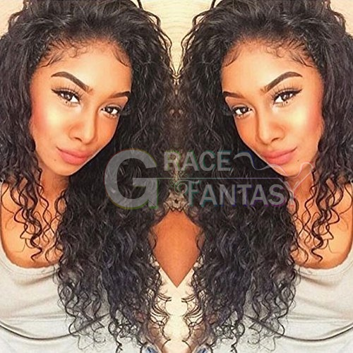7A Best Selling Long Loose Deep Curly Human Hair Wigs Virgin Brazilian Glueless Full Lace Wigs with Bangs Lace Front Wigs For Black Women