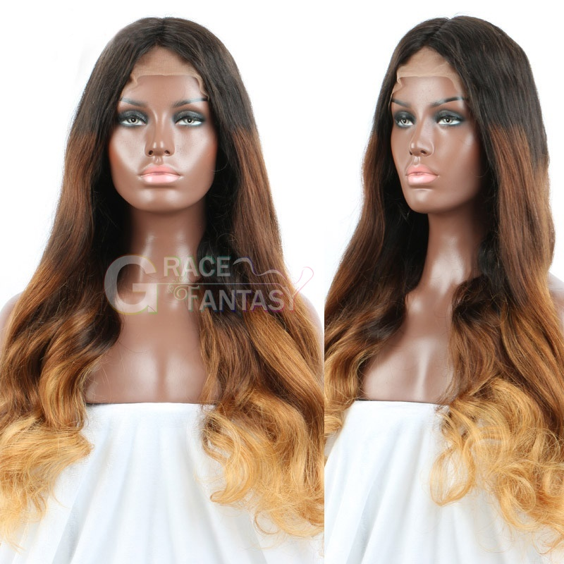GraceFantasy Full Lace Human Hair Wigs FREE SHIPPING Cheapest Best Glueless black to brown to Blonde #1B 27 30 Color body wave curly
