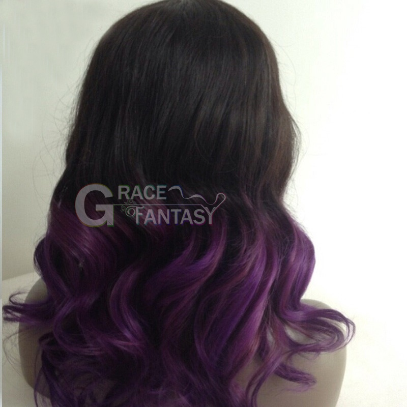 GraceFantasy 1B purple Color Glueless Full Lace Human Hair Wigs with Baby hair body wave Pre-Plucked Hairline Full lace Wig