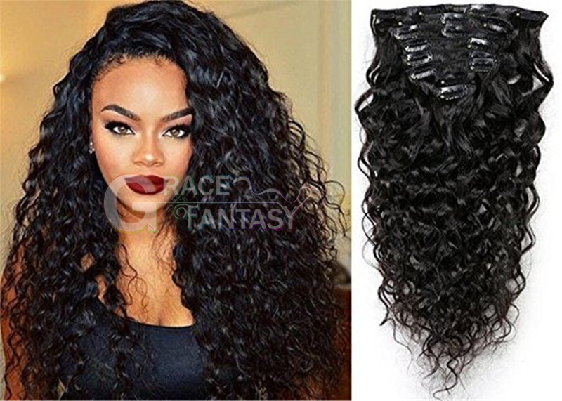 Natural Black Clip in Hair Extensions Water Wave Curly Clip in Human Hair Extensions Full Head 7 Pcs 120g Wavy Remy Clip in Hair Extension for Black Women Natural Curly Hair Clip
