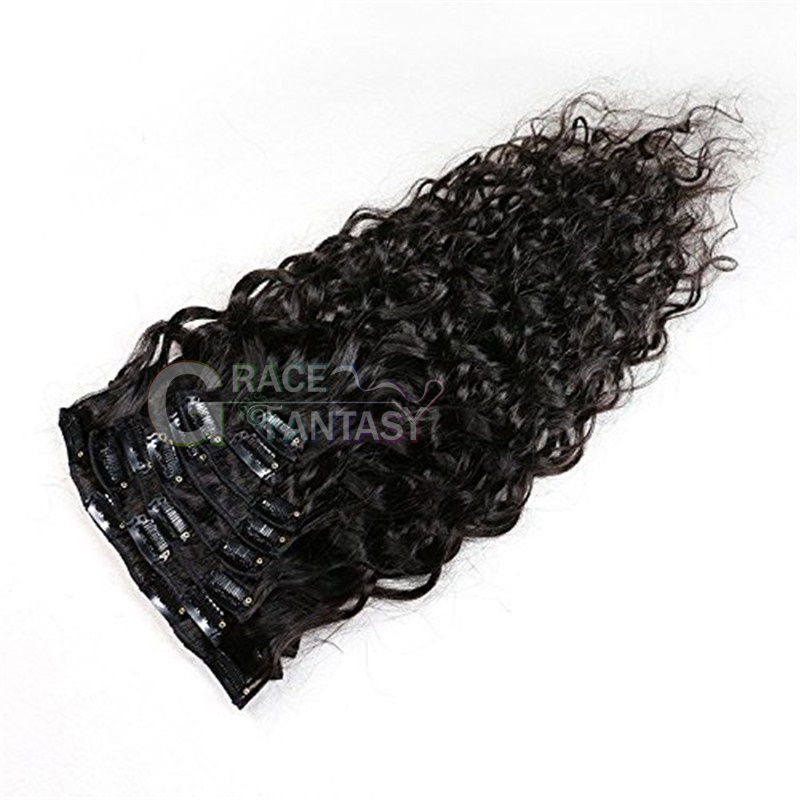 Water Wave Curly Clip in Human Hair Extensions