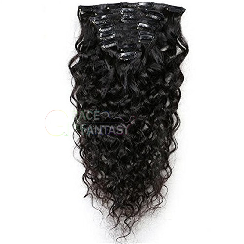 Full Head 7 Pcs 120g Wavy Remy Clip in Hair Extension