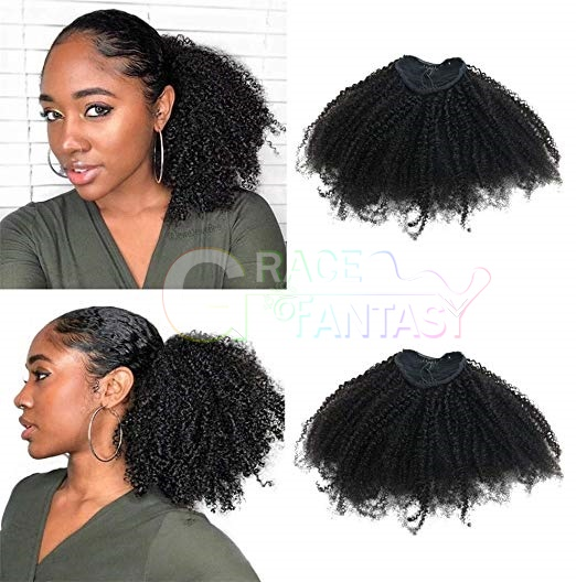 GraceFantasy4B4C Afro Kinky Curly Ponytails Clip In Human Hair Extensions For African Amaricans Kinky curly Natural Virgin Clipin Ponytail HairPieces Curly Puff Ponytail Top Closure