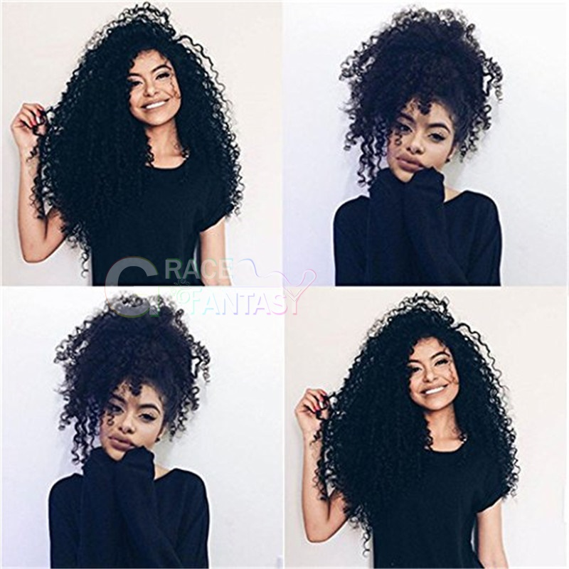 Kinky Curly Human Hair Extensions 3B 3C Hair Thick Human Hair 1B Natural Black Clip in Hair Extensions Virgin Hair for African American Black Women