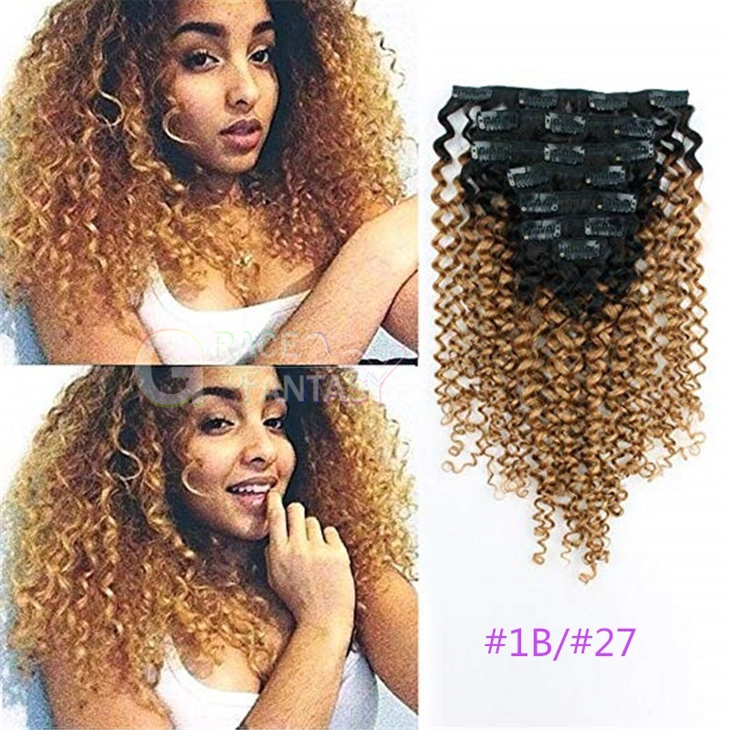 Grace Fantasy 3b3c Clip in Extensions Kinky Curly Ombre Hair Clip in Extensions Double Weft Remy Human Hair for African American Black Women
