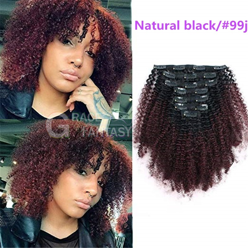 100% Unprocessed Human Virgin Hair Afro Kinky Curly Clip in Human Hair Extensions Ombre Two Tone 1B Off Black Fading Clip Hair Extension for African American Black Women