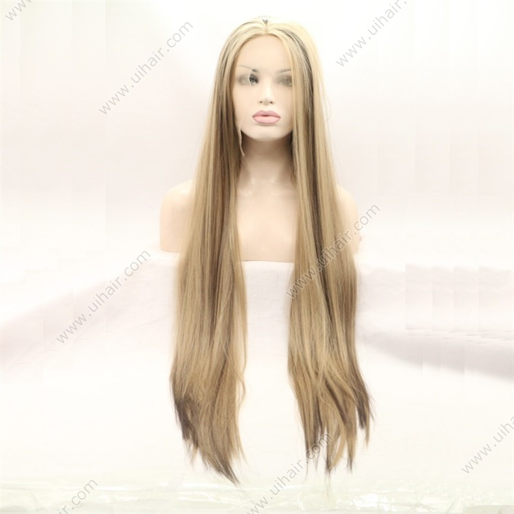 High light Synthetic Front Lace Wigs with Baby Hair Straight Long Wigs Synthetic for Women Bleached Knots Natural Looking