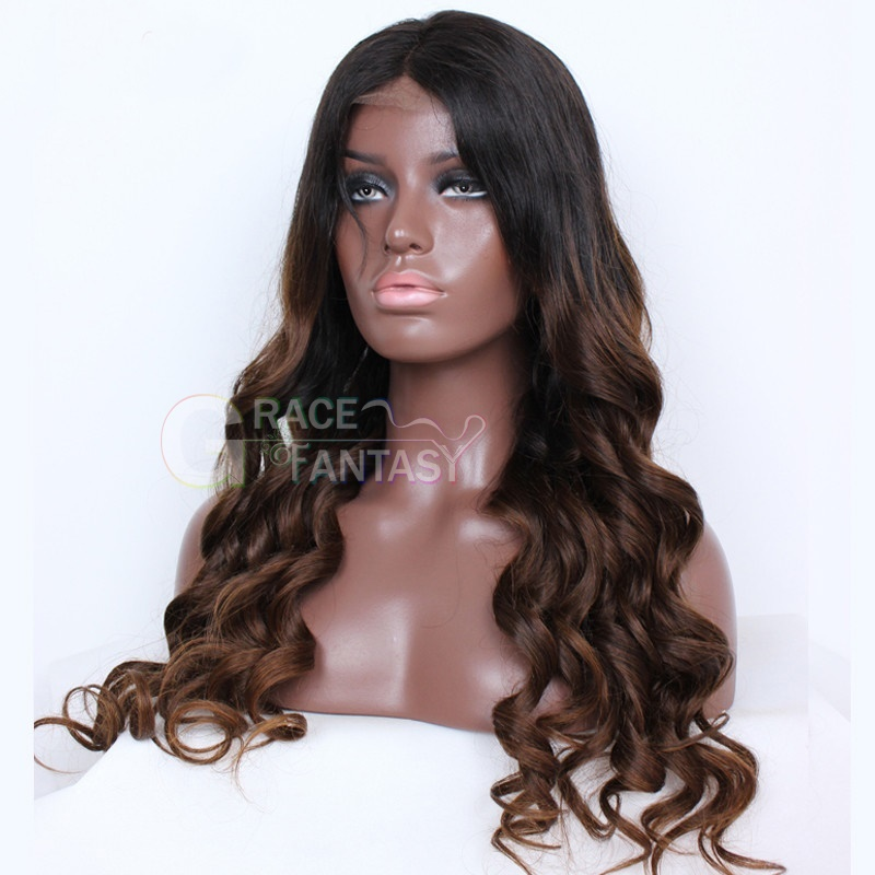 Lace Front Human Hair Wigs Brown Glueless Body Wave