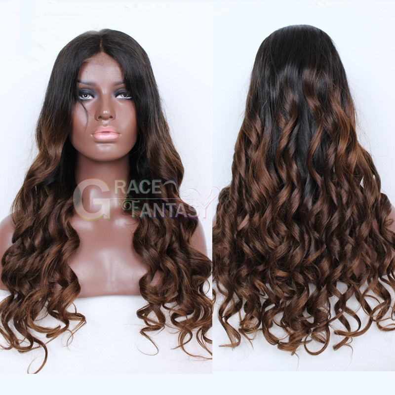 Spring Curly Lace Front Human Hair Wigs Brown