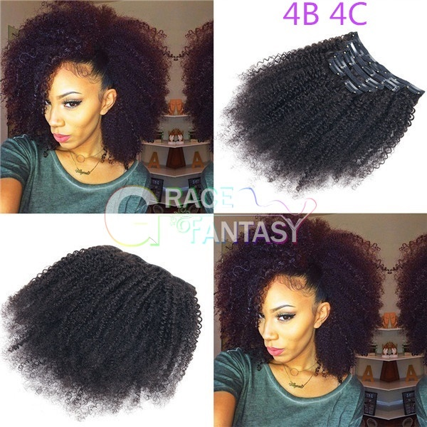 Mongolian Afro Kinky Curly Clip In Human Hair Extensions for African Amarican Kinky Curly Clip Ins 7pcs/set 120Gram Natural Color Full Head