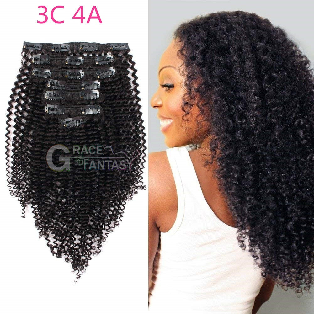 Afro Kinky Curly Clip In Human Hair Extensions for Black Women