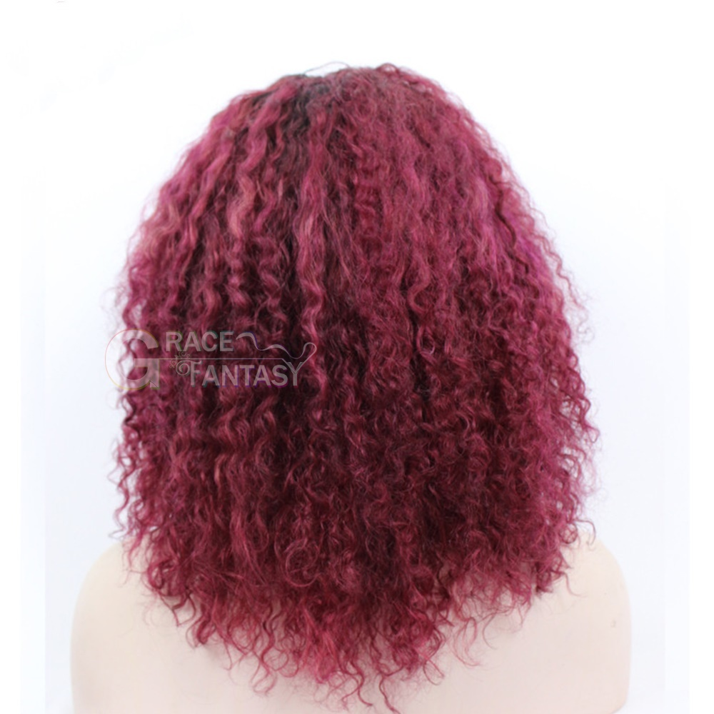 Grace Fantasy Afro Kinky Curly Red Wigs For Black Women Heat Resistant Human Hair Hairstyle Short Lace Front Wig Curly Cosplay Wig