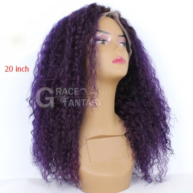 Grace Fantasy Hair Ombre Purple Lace Front Wig Kinky Curly Human Hair Natural Hairline Wigs Long Kinky Curls Hairstyles in stock