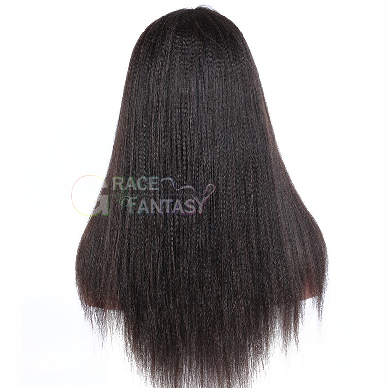 "lace front wigs pre plucked gluess lace wig virgin human hair 8-22"" yaki straight hair"