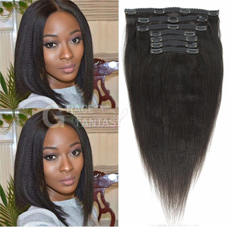 virgin yaki straight Human hair clip in hair extensions natural black yaki straight clip on hair extensions 8-22 inch 120g/set for women daily wear free shipping