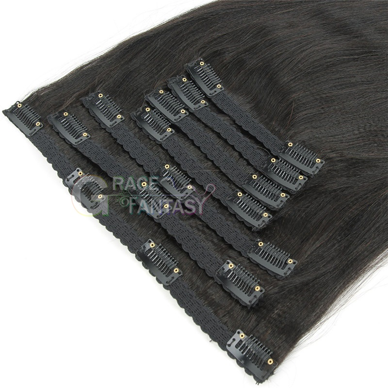 yaki straight clip on hair extensions 8-22 inch 120g/set for women daily wear