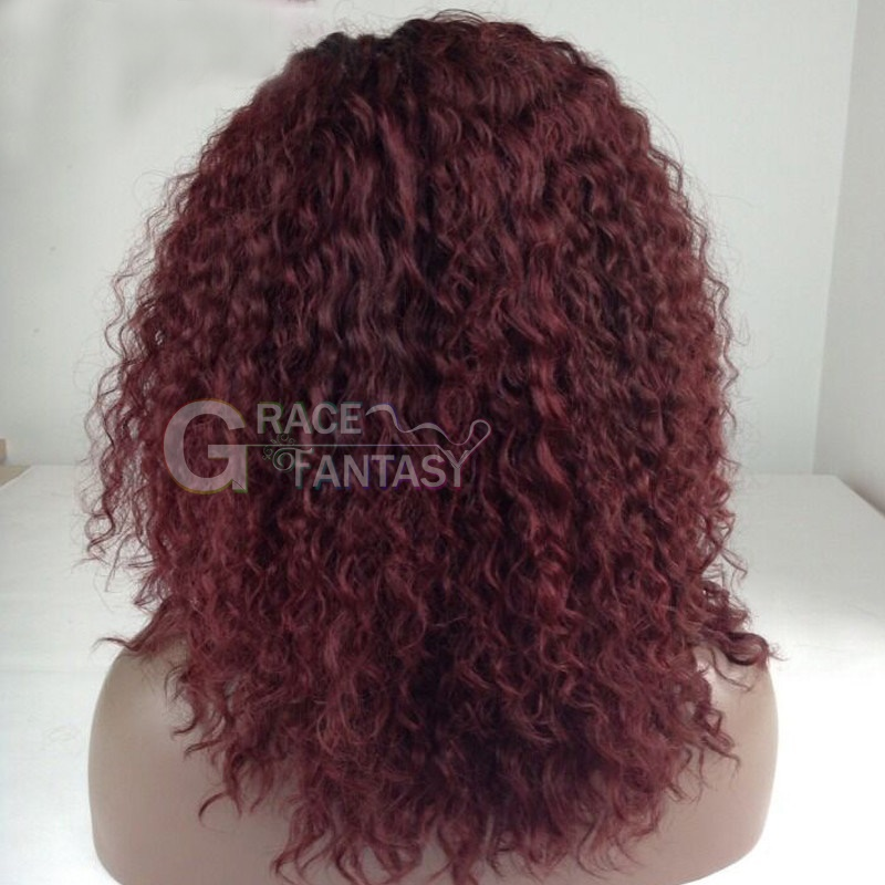 Grace Fantasy Wigs for Women Red Curly Wigs Afro Kinky Hair Wigs for African American Women Natural Looking Heat Resistant Wig with Wig Cap