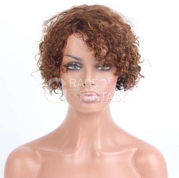Grace Fantasy Short Bob Lace Front Wigs for Women Natural Looking Glueless Short Kinky Curly Brown Human Hair Wig