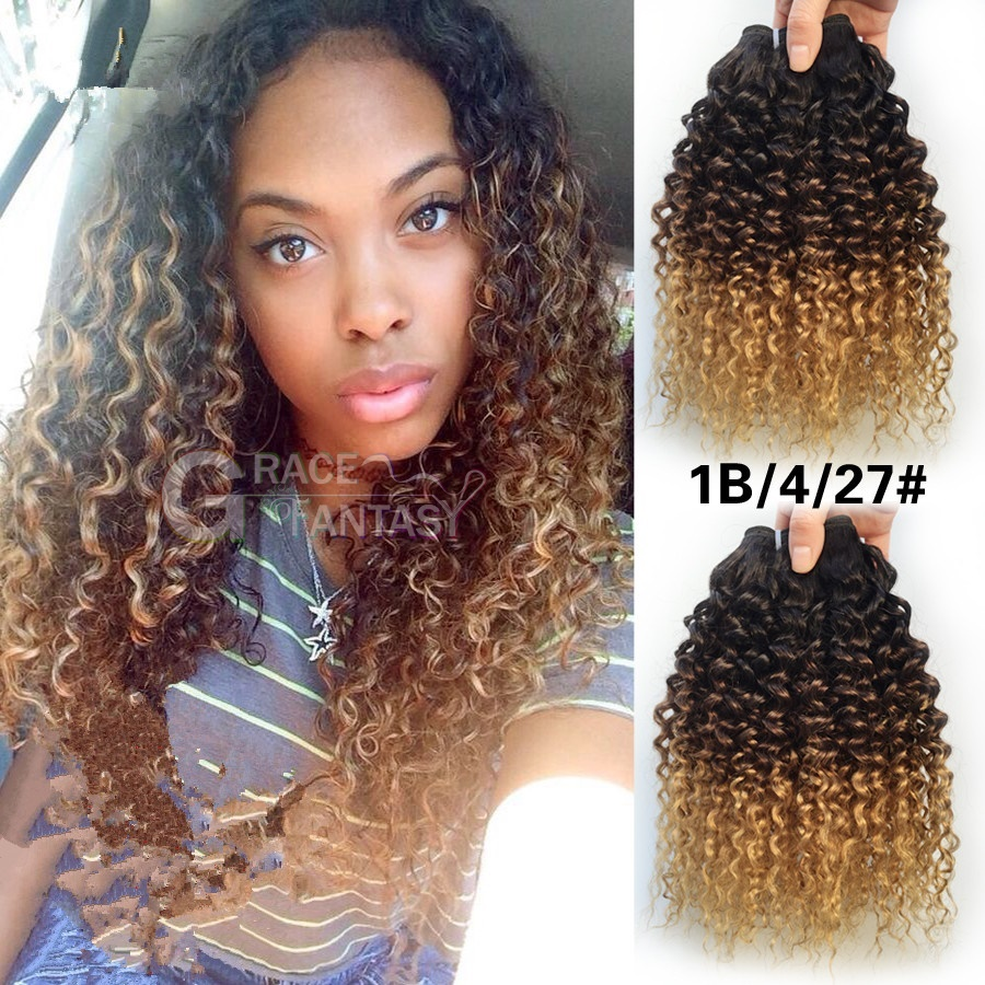 Virgin Indian Deep Curly Hair 3 Bundles Afro Kinky Curly Weave Ombre Human Hair Three Tone 1B 4 27 Indian Weft Hair Extension