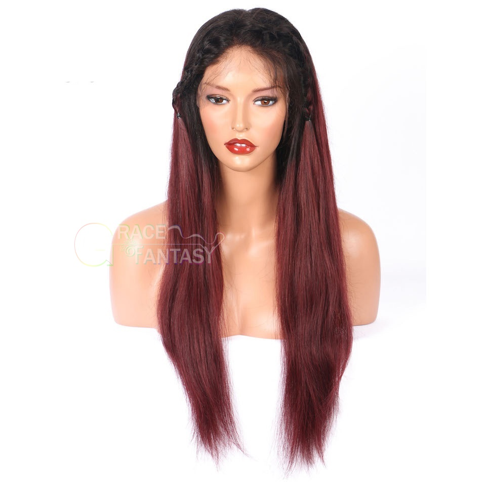 Grace Fantasy Black to 99j Straight Lace Front Human Hair Wigs Pre Plucked With Baby Hair Unprocessed Virgin Brazilian Hair Wig For Women Glueless Lace Front Wigs