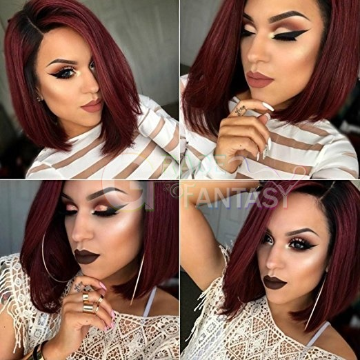 Black to Red 99j Bob Hair Straight Lace Front Human Hair Wigs Pre Plucked With Baby Hair Unprocessed Virgin Brazilian Hair Wig For Women Glueless Lace Front Wigs
