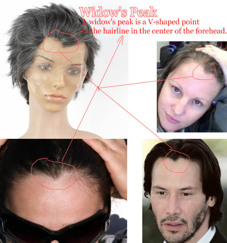 widow s peak is a V-shaped point wigs